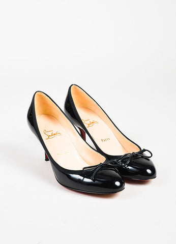 "Christian Louboutin ""Marcia Balla"" Black Patent Leather Bow Heels Frontview"
