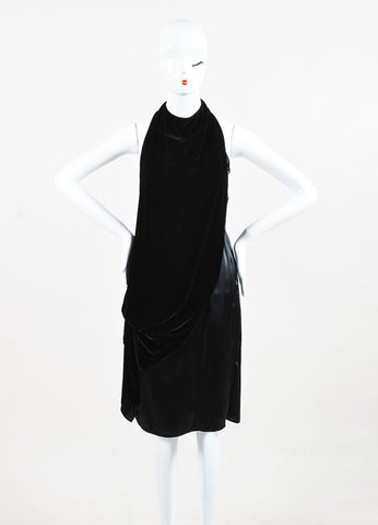 Gary Graham Black Silk Velvet Layered Drape High Neck Sleeveless Dress Front