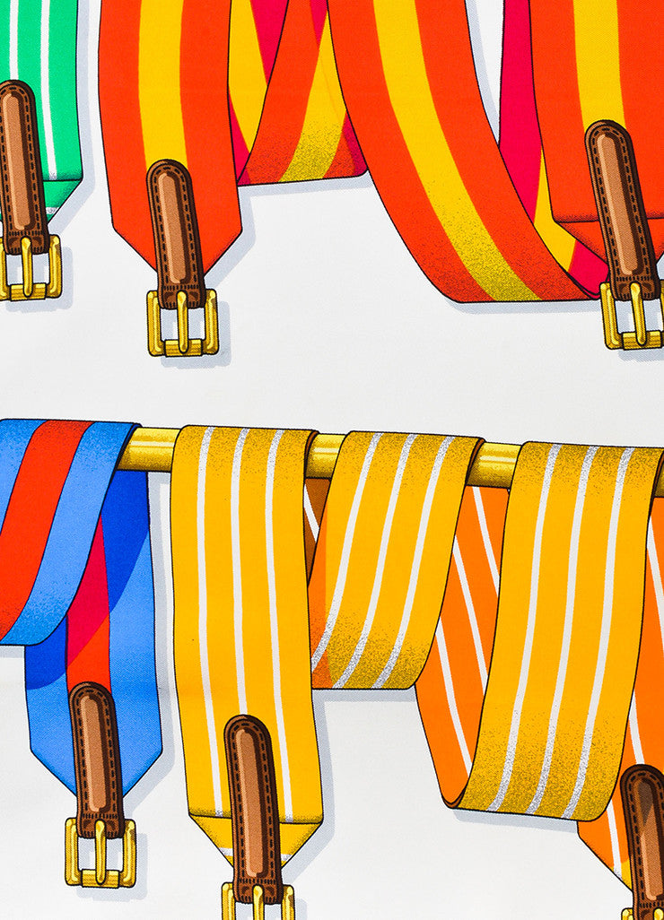 "Hermes Red, Yellow, and Blue Silk Twill Striped Belts and Buckles ""Sangles"" 90cm Scarf Detail"