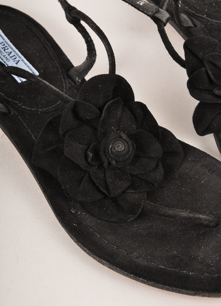 Prada Black Suede Leather Floral Applique Flat Buckled Sandals Detail