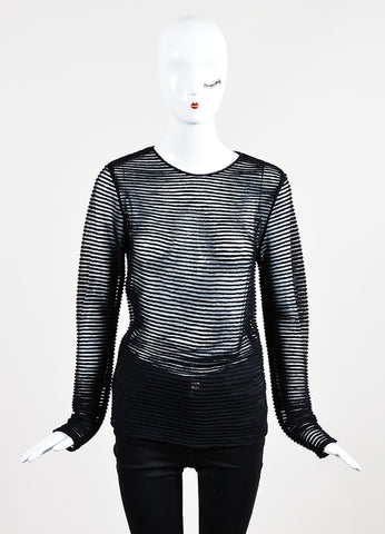 Black Tamara Mellon Sheer Solid Stripe Long Sleeve Shirt  Frontview