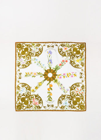 "Hermes White and Multicolor Silk ""Arabesques"" Printed Scarf Frontview 2"
