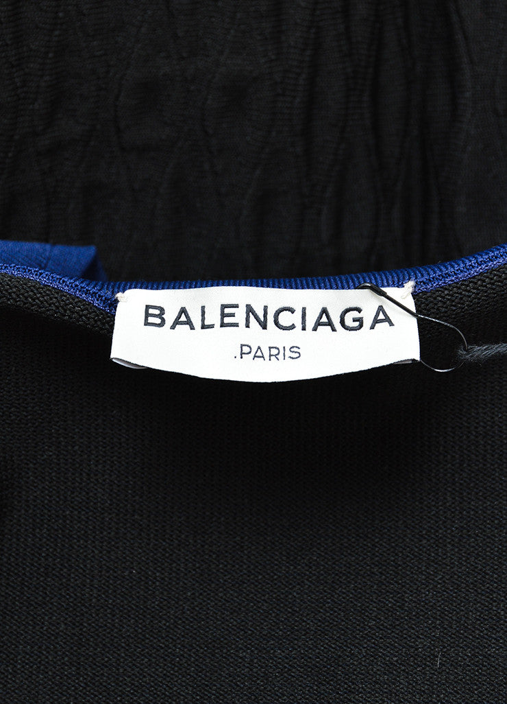 Black and Blue Balenciaga Textured Wave Fitted Turtleneck Sleeveless Dress Brand