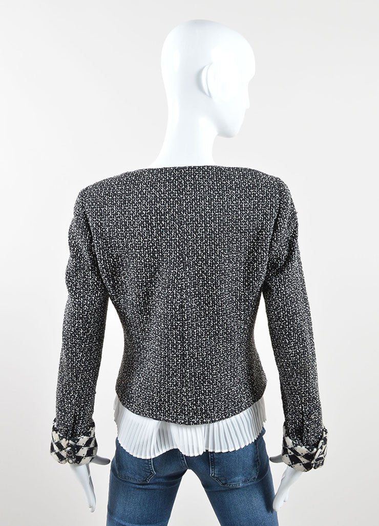 Chanel Black and White Silk and Woven Tweed Printed Jacket Backview