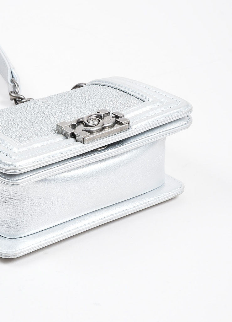 Silver Metallic Chanel Stingray and Calfskin Leather 'CC' Pushlock Mini Boy Bag Bottom View