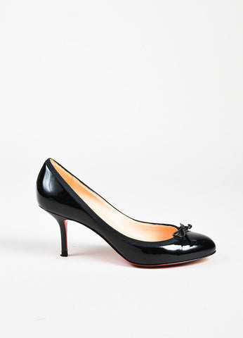 "Christian Louboutin ""Marcia Balla"" Black Patent Leather Bow Heels Sideview"