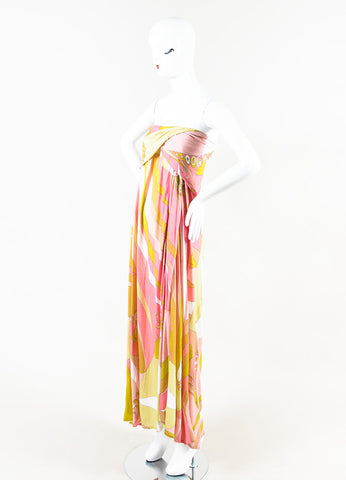 Emilio Pucci Multicolor Knit Printed Strapless Slit Maxi Dress Side