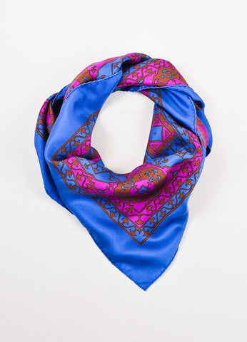 "Hermes ""Arabia"" Multicolor Geometric Square Scarf Frontview"