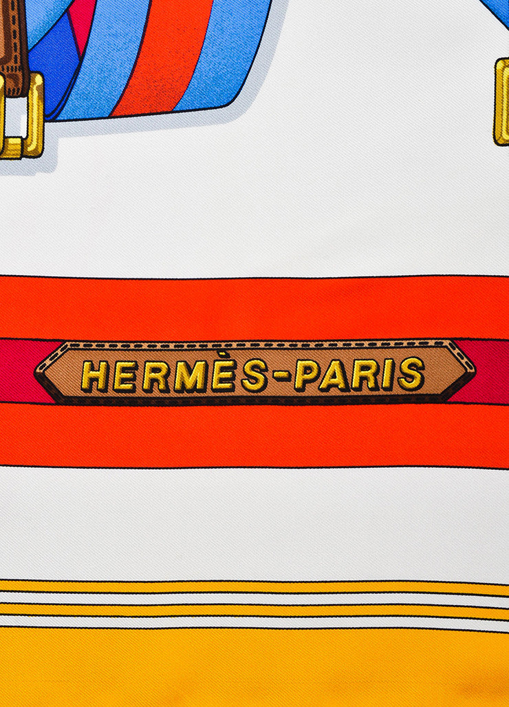 "Hermes Red, Yellow, and Blue Silk Twill Striped Belts and Buckles ""Sangles"" 90cm Scarf Brand"