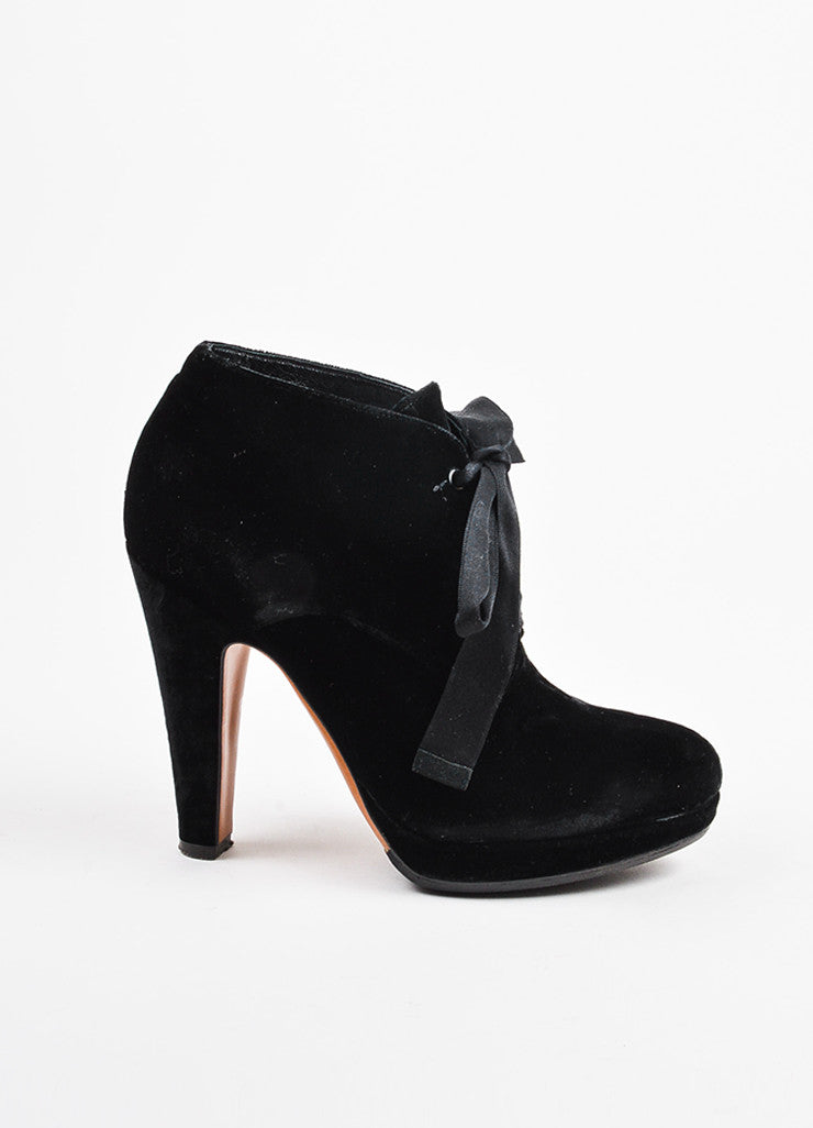 Moschino Cheap and Chic Black Velvet Lace Up Platform Heel Booties