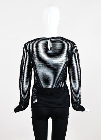 Black Tamara Mellon Sheer Solid Stripe Long Sleeve Shirt  Backview