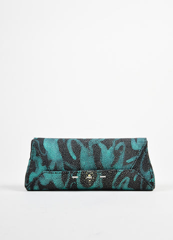 "Black and Teal Blue VBH Stingray Metallic Printed ""Wrap"" Clutch Bag Frontview"