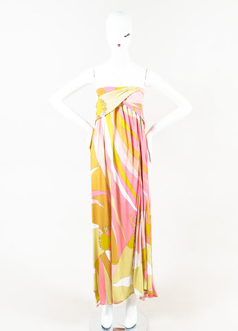 Emilio Pucci Multicolor Knit Printed Strapless Slit Maxi Dress Front