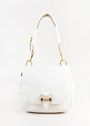 "Tom Ford White Leather GHW Front Flap ""Day"" Shoulder Bag Frontview"