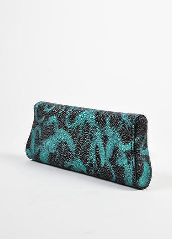 "Black and Teal Blue VBH Stingray Metallic Printed ""Wrap"" Clutch Bag Sideview"