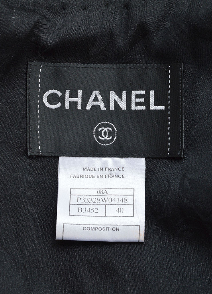 Chanel Black and White Silk and Woven Tweed Printed Jacket Brand