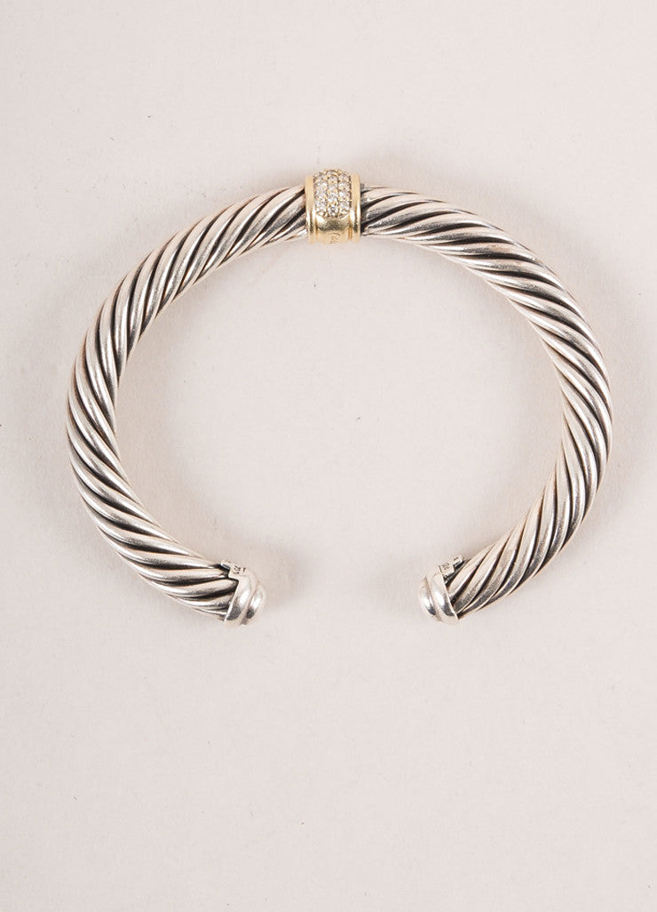 David Yurman Sterling Silver 18k Gold Pave Diamond Ring Cable Classics Bracelet top photo