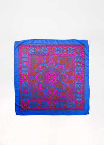"Hermes ""Arabia"" Multicolor Geometric Square Scarf Frontview 2"