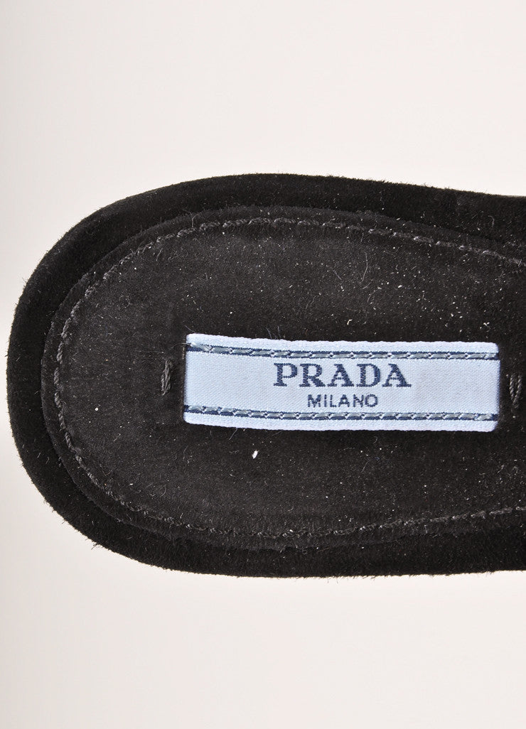 Prada Black Suede Leather Floral Applique Flat Buckled Sandals Brand