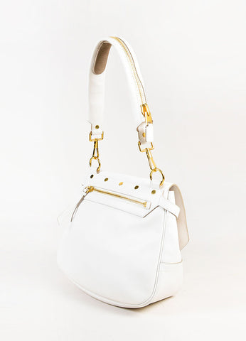 "Tom Ford White Leather GHW Front Flap ""Day"" Shoulder Bag Sideview"