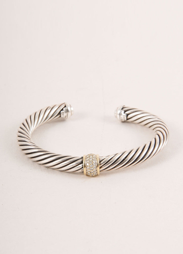 David Yurman Sterling Silver 18k Gold Pave Diamond Ring Cable Classics Bracelet top photo 2