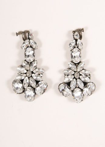 Vera Wang Gunmetal Toned Rhinestone Embellished Drop Clip On Earrings Frontview