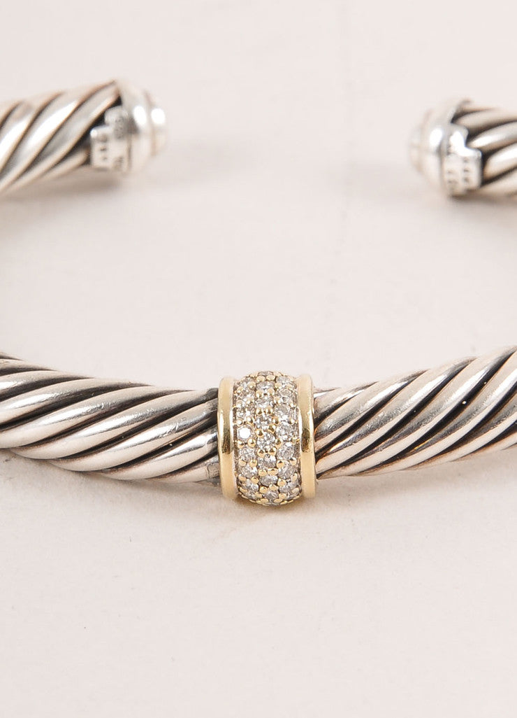 David Yurman Sterling Silver 18k Gold Pave Diamond Ring Cable Classics Bracelet close up