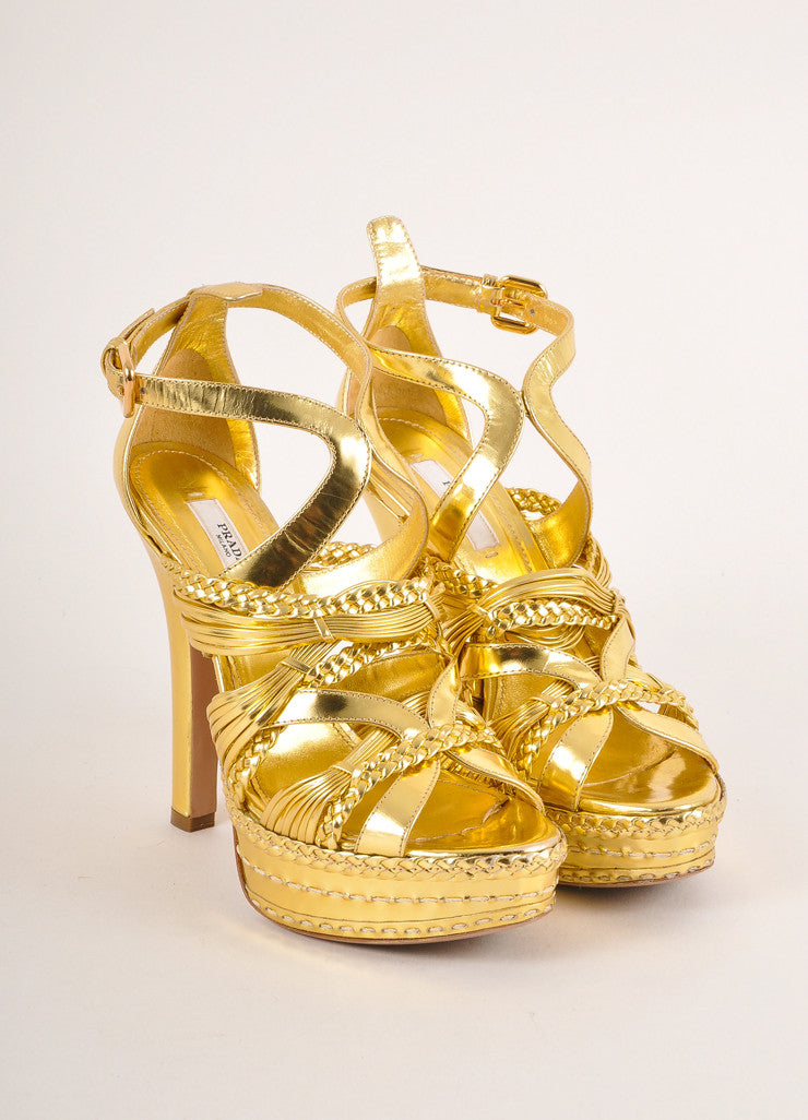 Prada Gold Metallic Strappy Braided Leather Platform Heel Sandals Frontview