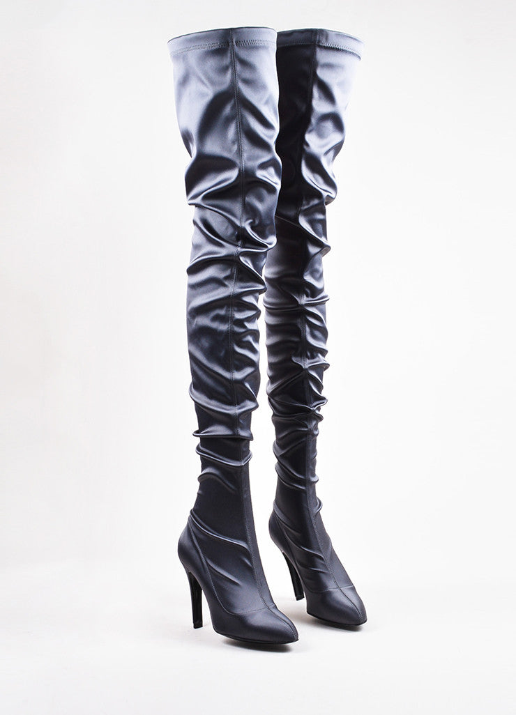 Stella McCartney Grey Satin Thigh High Heeled Boots frontview
