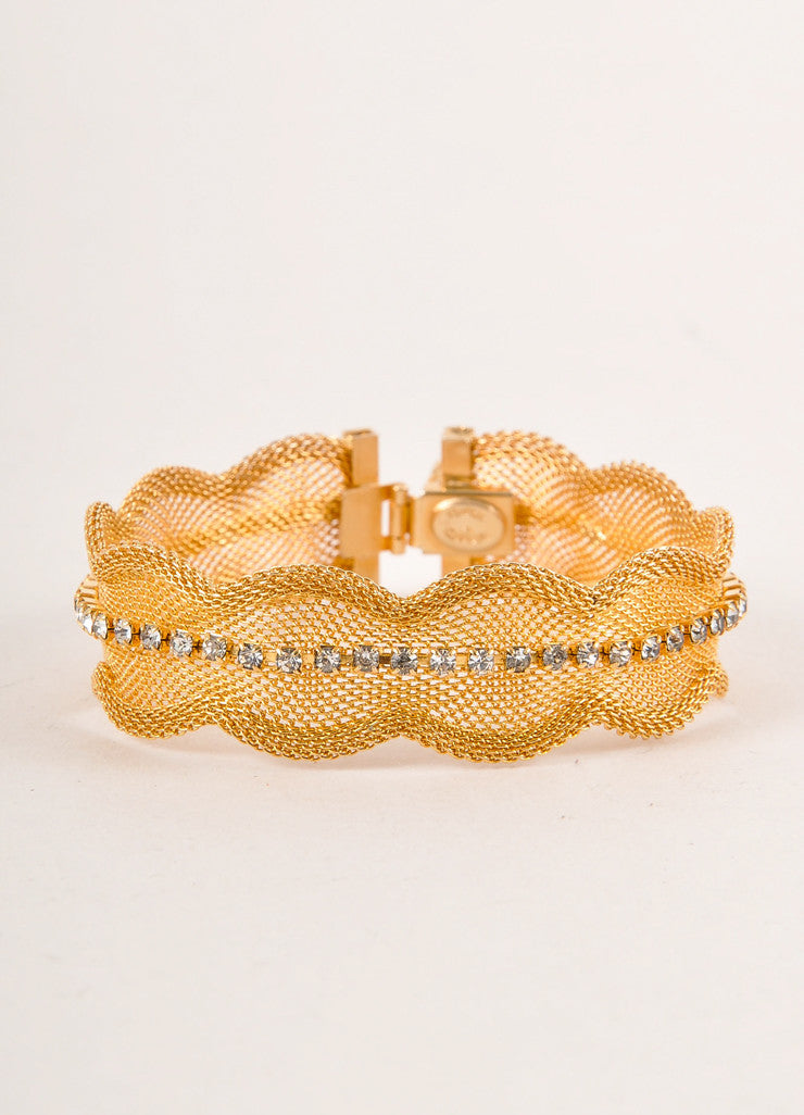 Hattie Carnegie Gold Toned and Clear Rhinestone Trim Metal Mesh Bracelet Frontview