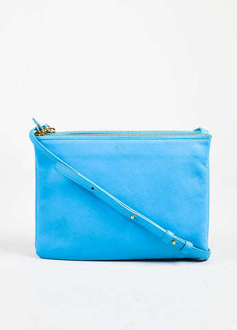 "Celine Turquoise Lambskin Leather ""Large Trio"" Crossbody Bag Frontview"