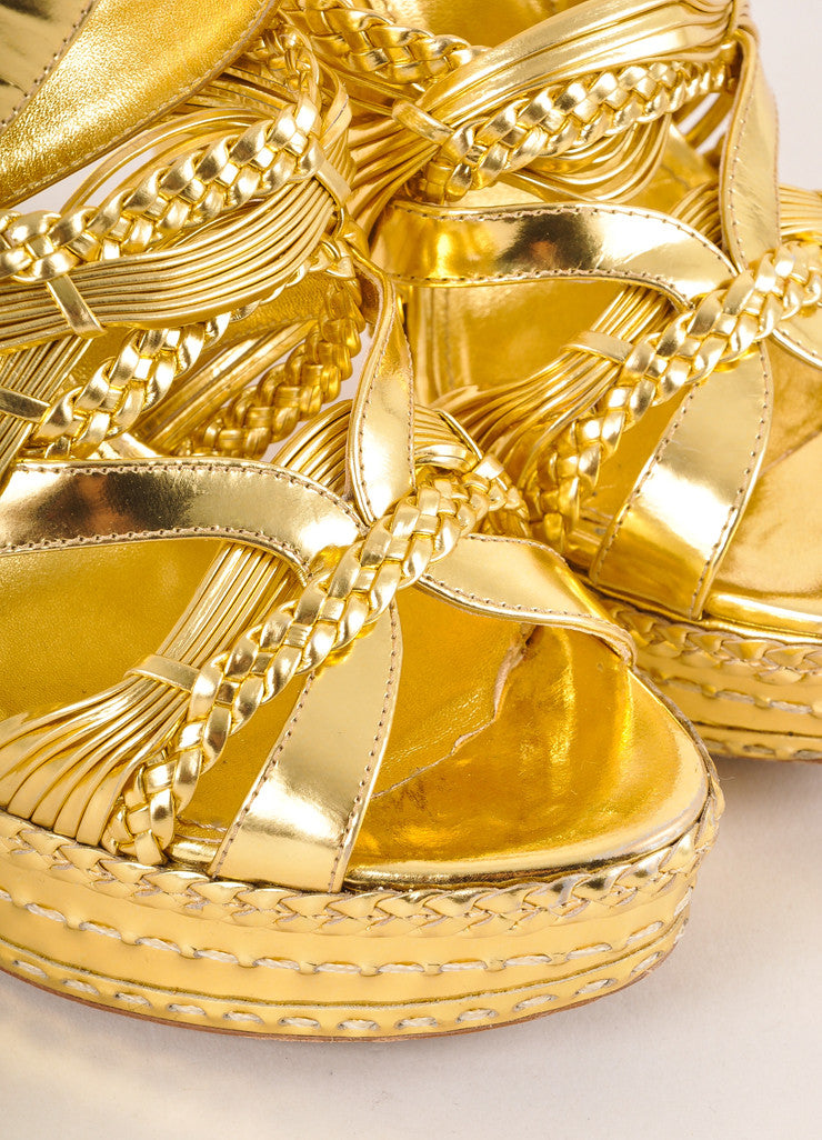 Prada Gold Metallic Strappy Braided Leather Platform Heel Sandals Detail