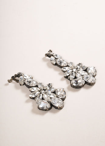 Vera Wang Gunmetal Toned Rhinestone Embellished Drop Clip On Earrings Sideview