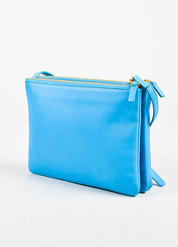 "Celine Turquoise Lambskin Leather ""Large Trio"" Crossbody Bag Sideview"