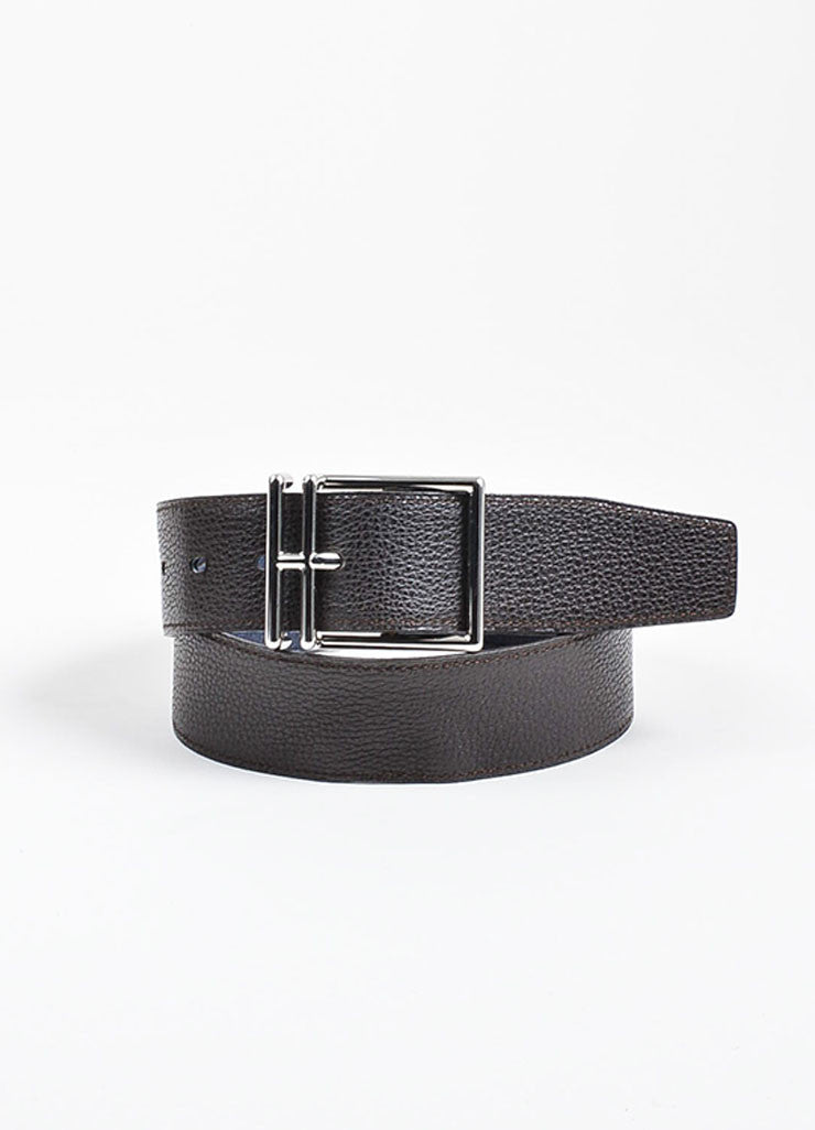 Dark Brown and Dusty Blue Hermes Reversible Pebbled Leather Elongated 'H' Buckle Belt Frontview