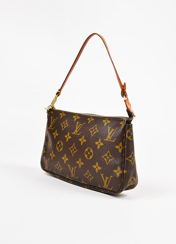 "Louis Vuitton Brown Monogram Coated Canvas ""Pochette Accessories"" Bag angle"