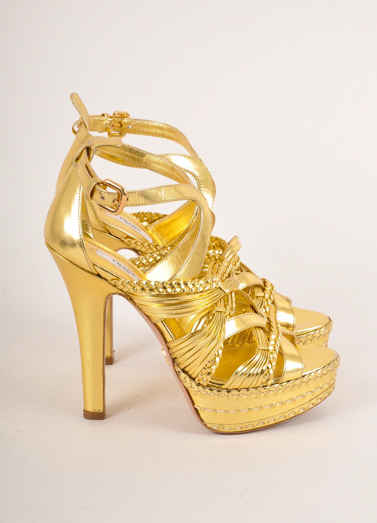 Prada Gold Metallic Strappy Braided Leather Platform Heel Sandals Sideview