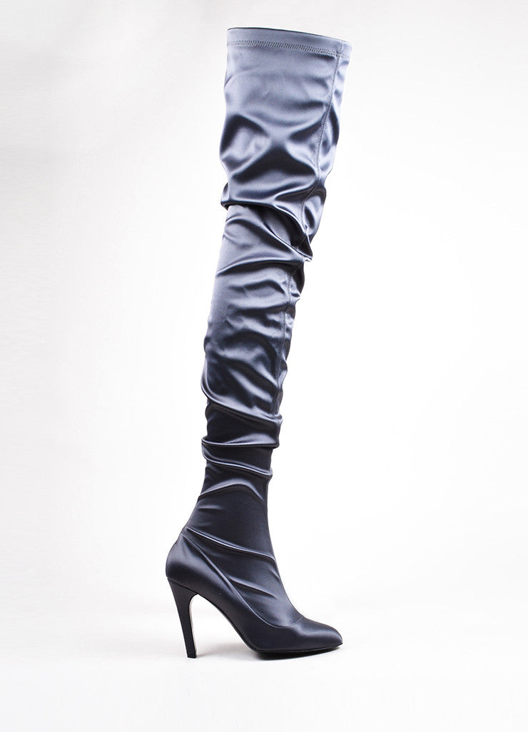 Stella McCartney Grey Satin Thigh High Heeled Boots Sideview