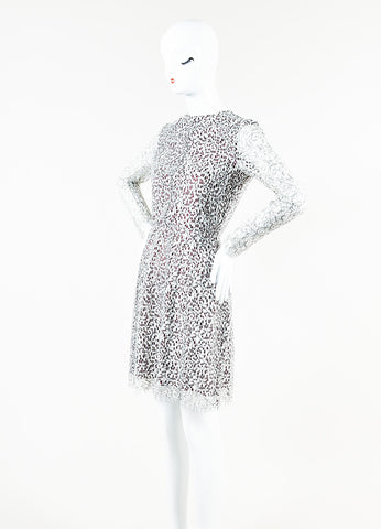 Carven White, Black, and Burgundy Floral Lace Overlay Long Sleeve Dress Sideview