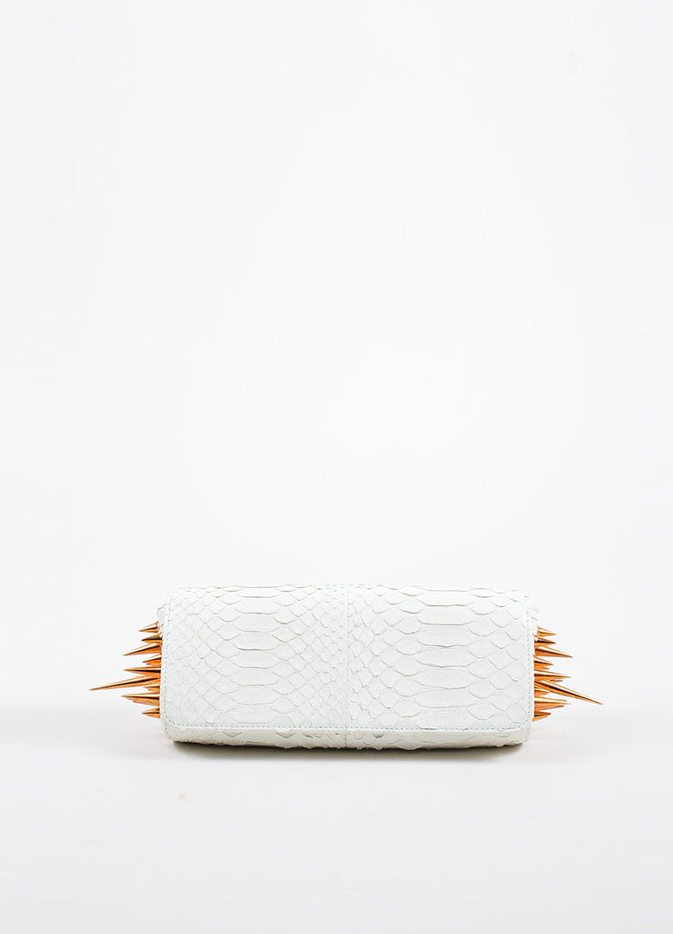 "Christian Louboutin White Python Rose Gold Toned Spike ""Marquise"" Clutch Bag Frontview"
