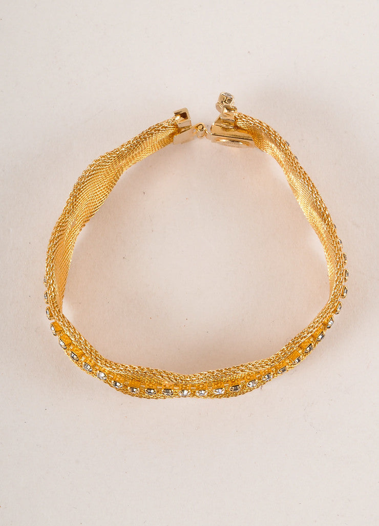 Hattie Carnegie Gold Toned and Clear Rhinestone Trim Metal Mesh Bracelet Topview