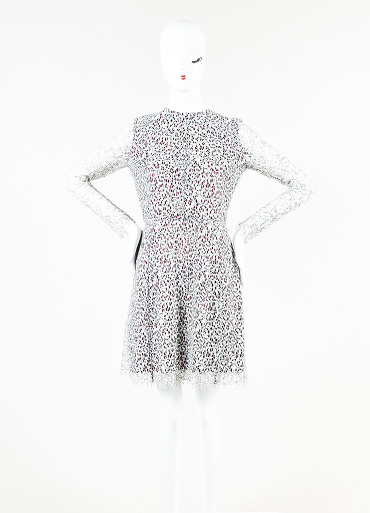 Carven White, Black, and Burgundy Floral Lace Overlay Long Sleeve Dress Frontview