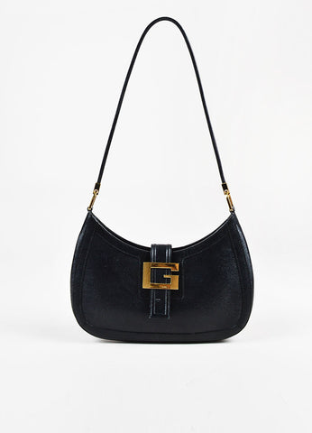 Gucci Black Coated Leather Shoulder Bag Frontview