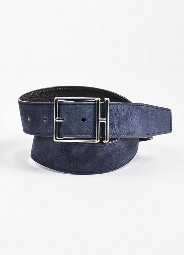Dark Brown and Dusty Blue Hermes Reversible Pebbled Leather Elongated 'H' Buckle Belt Frontview 2