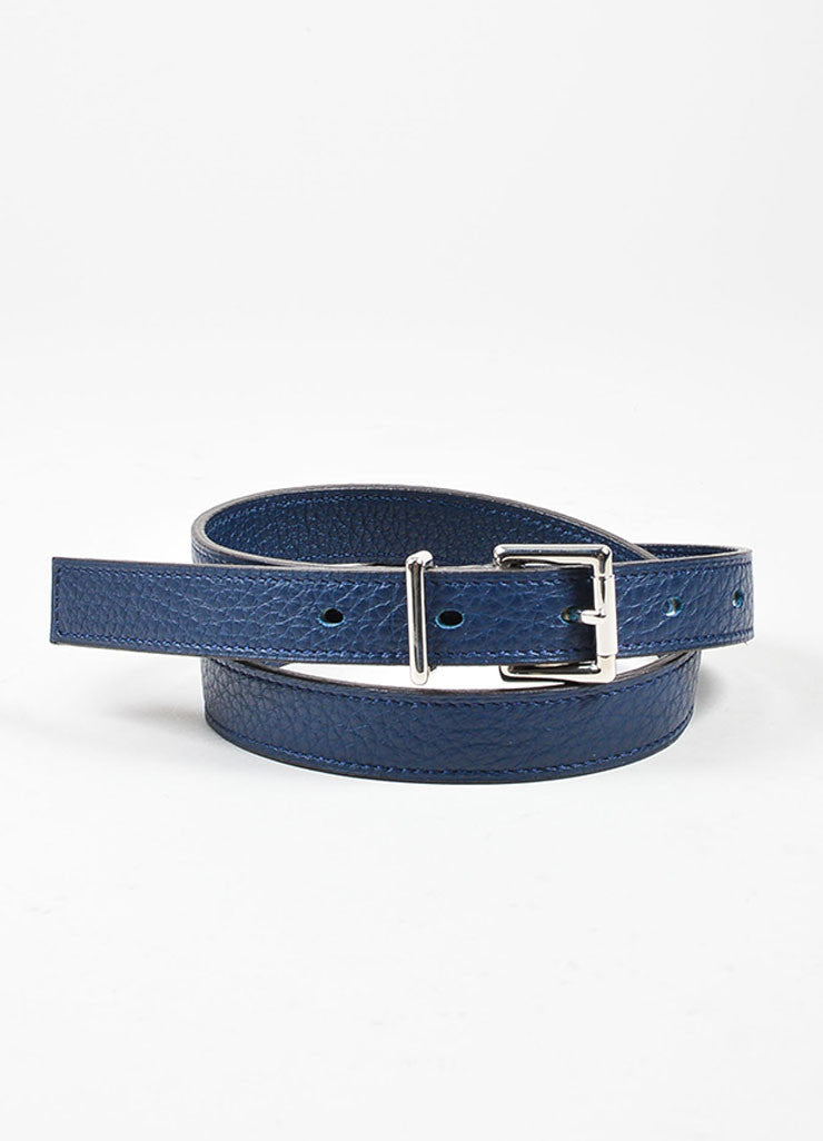 Navy Blue Hermes Pebbled Leather Silver Toned Hardware Skinny Belt Frontview