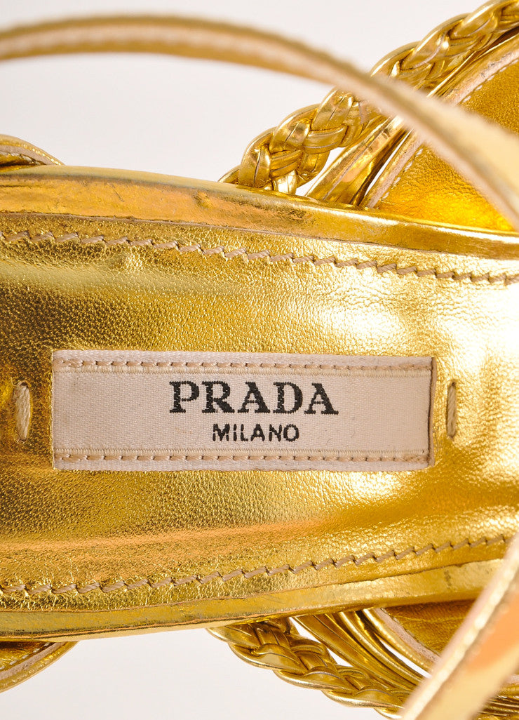 Prada Gold Metallic Strappy Braided Leather Platform Heel Sandals Brand