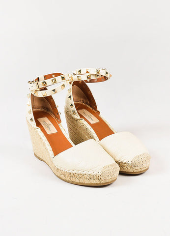 "Valentino Cream Leather Espadrille Wedge Wrap ""Rockstud"" Sandals"