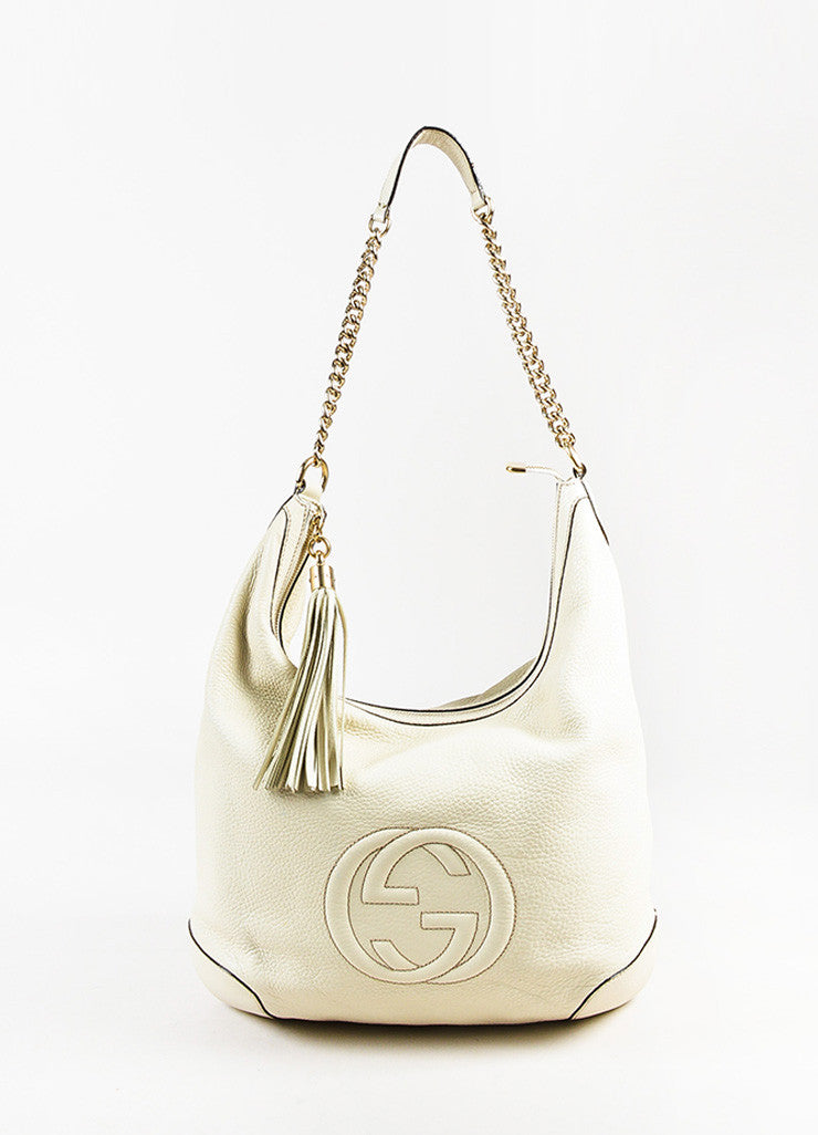 "Gucci ""Mystic White"" Pebbled ""Soho Leather Chain Hobo"" Bag Front"