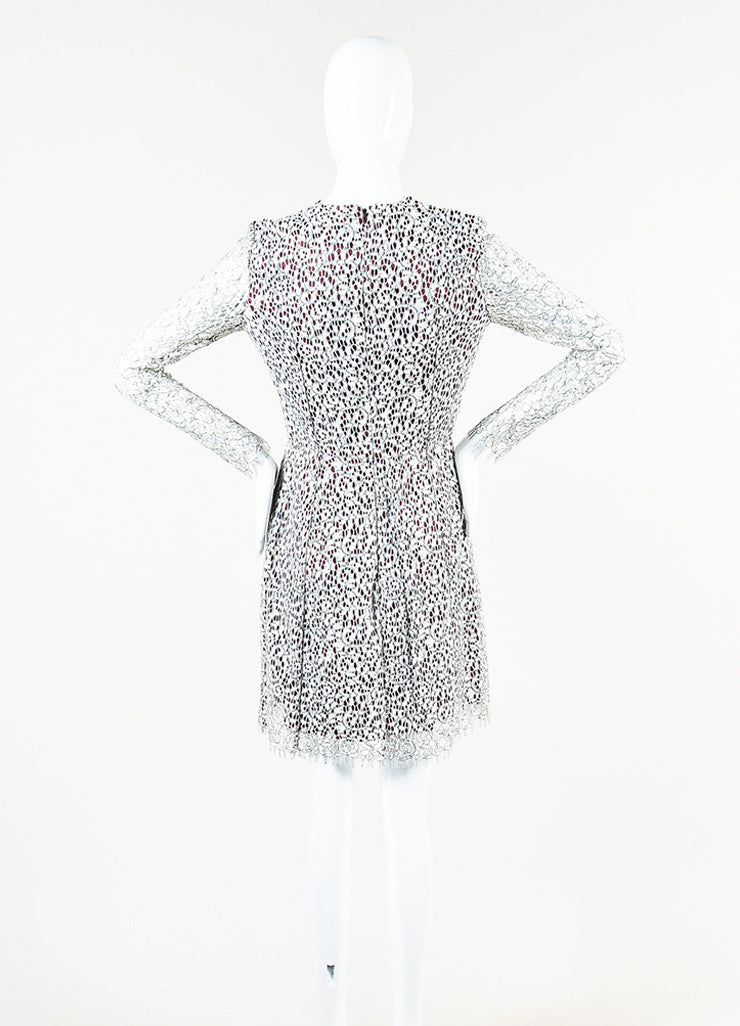 Carven White, Black, and Burgundy Floral Lace Overlay Long Sleeve Dress Backview