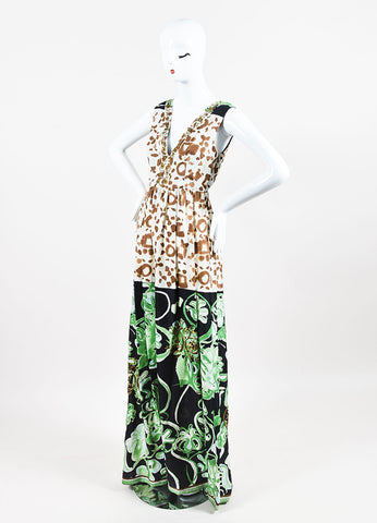 Emilio Pucci Green Multicolor Silk Mixed Print Embellished Gown Front